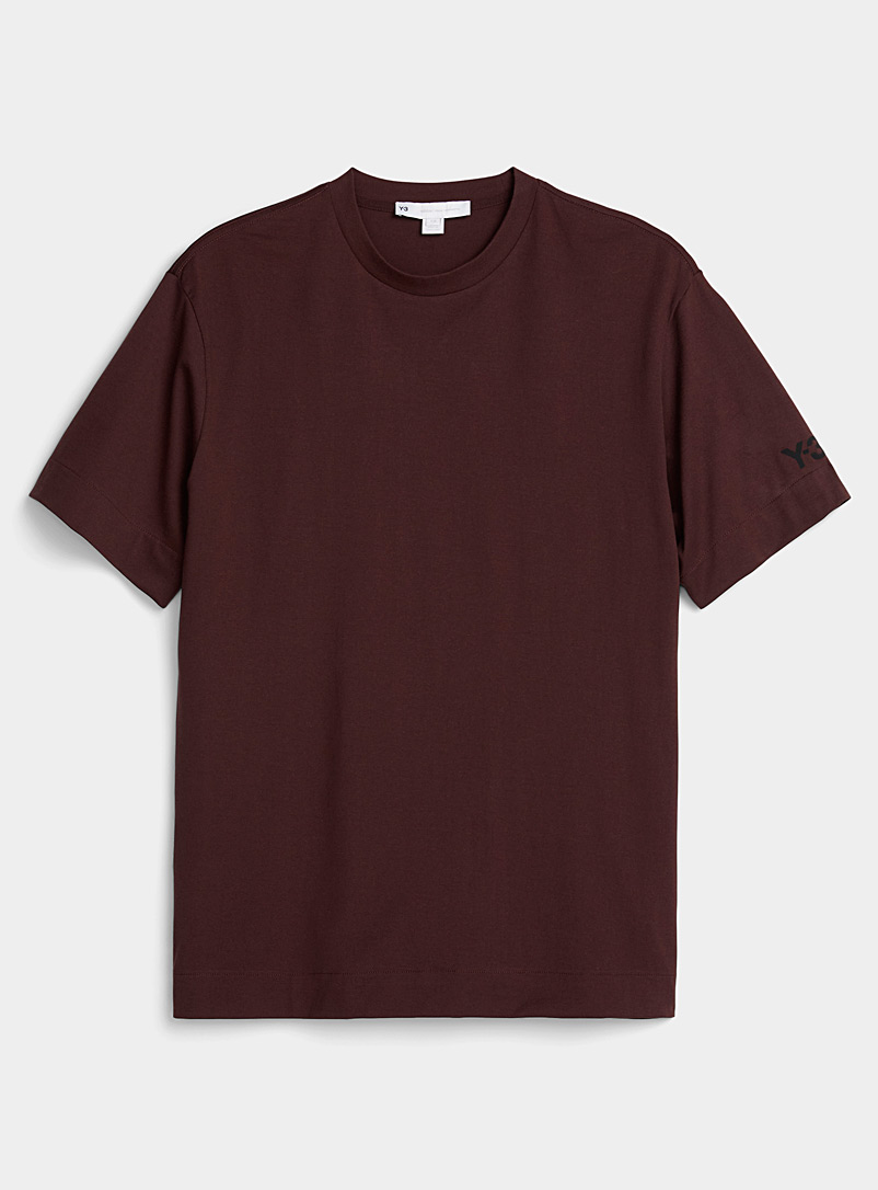 Y-3 Adidas Ruby Red Signature sport print burgundy T-shirt for men