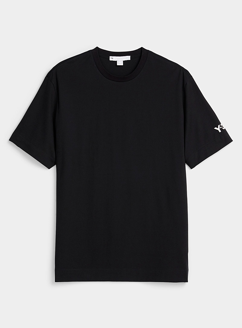 Y-3 Adidas Black Signature sport print black T-shirt for men
