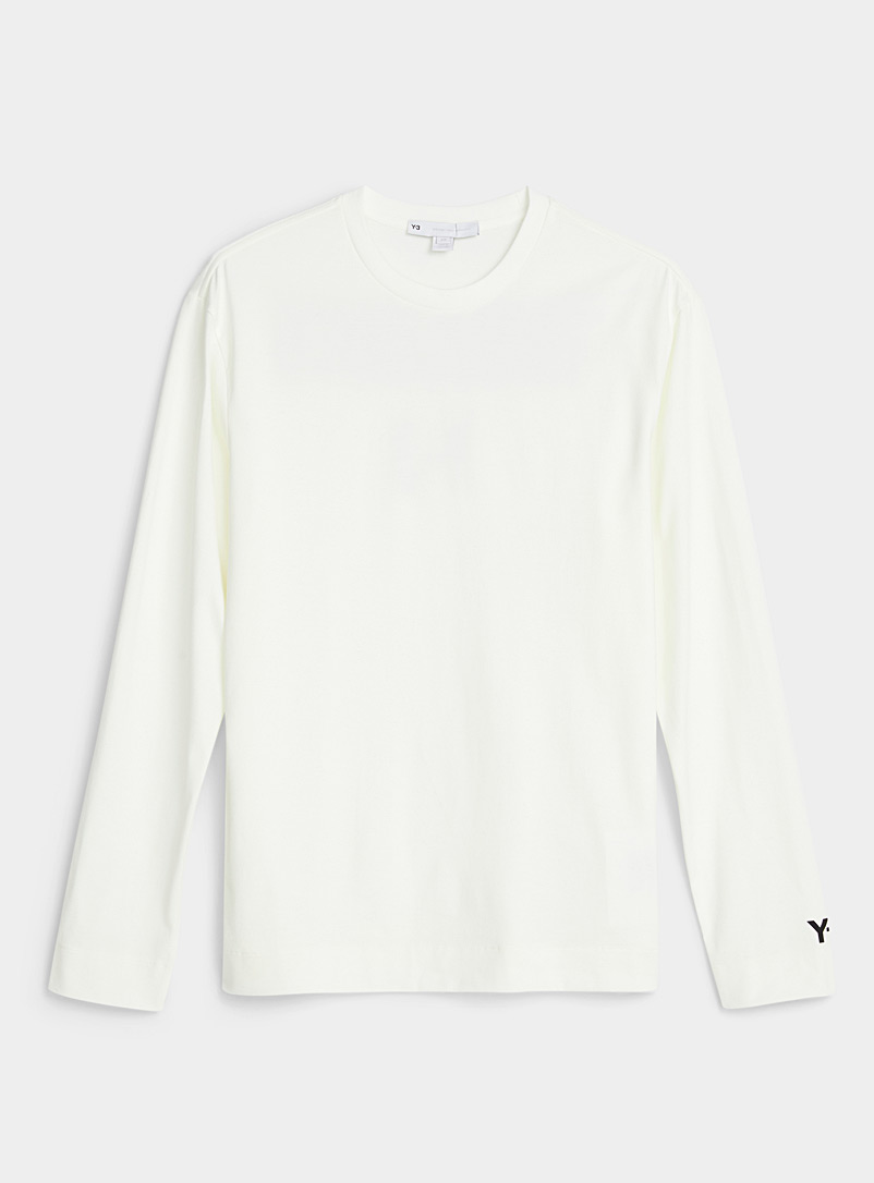 Y-3 Adidas White Signature sport print long-sleeve T-shirt for men