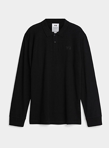 Y-3 Adidas Black Mini-logo long-sleeve polo for men