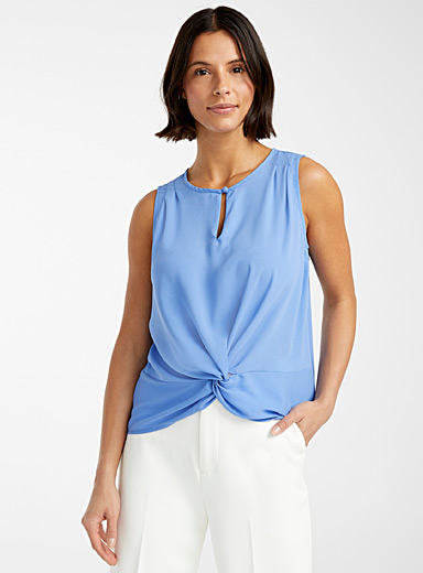 Contemporaine Slate Blue Fluid knotted waist camisole for women