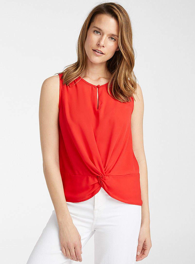 Contemporaine Bright Red Fluid knotted waist camisole for women