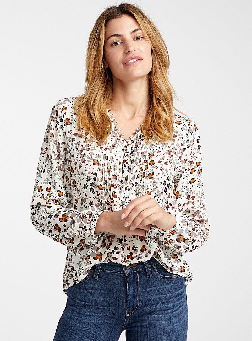 Button bib floral blouse - Blouses - Patterned Ecru