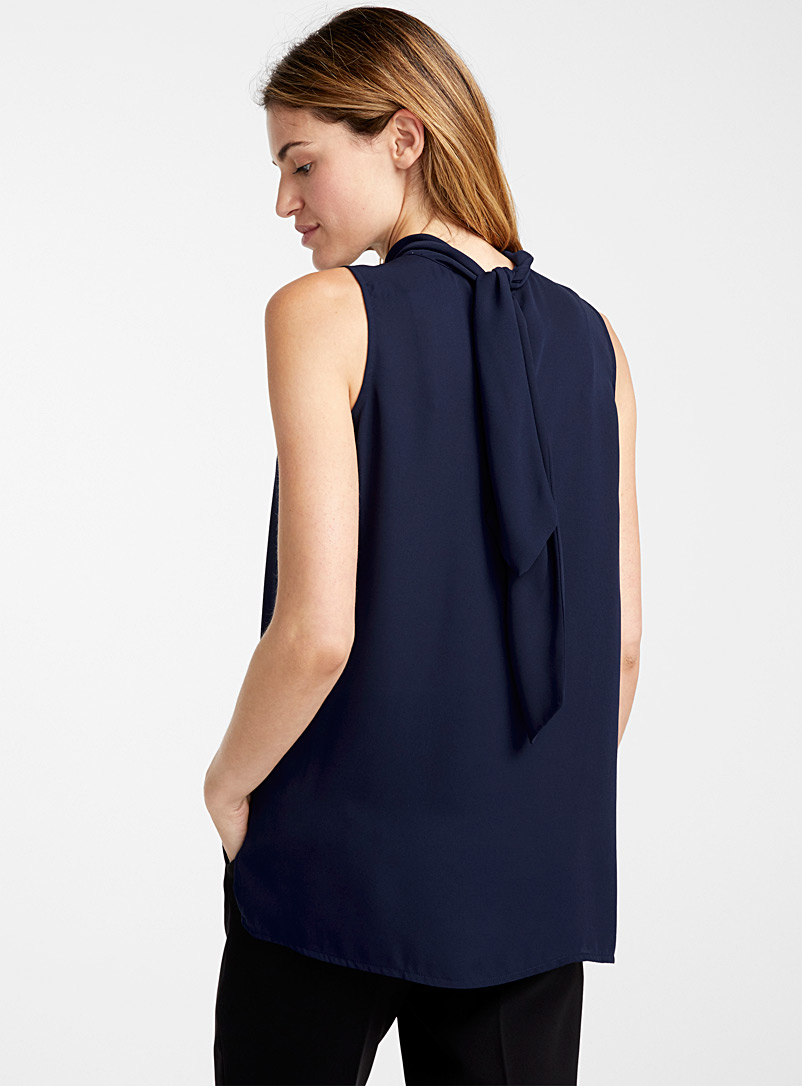 Scarf-neck fluid camisole - Blouses - Marine Blue