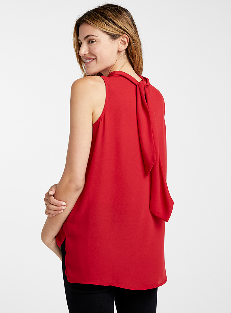 Scarf-neck fluid cami - Blouses - Red