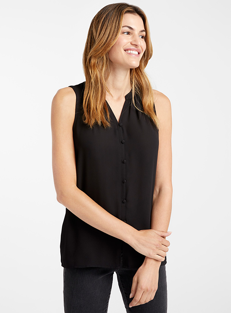 Covered-button fluid cami - Blouses - Black