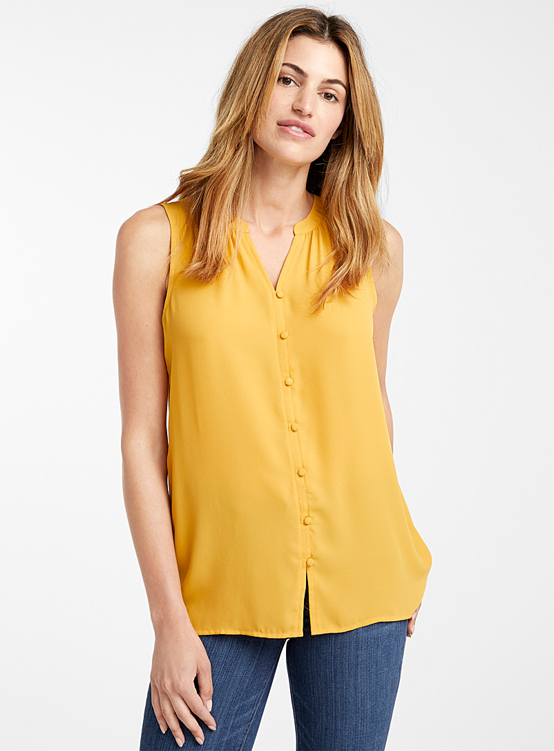 Covered-button fluid cami - Blouses - Dark Yellow