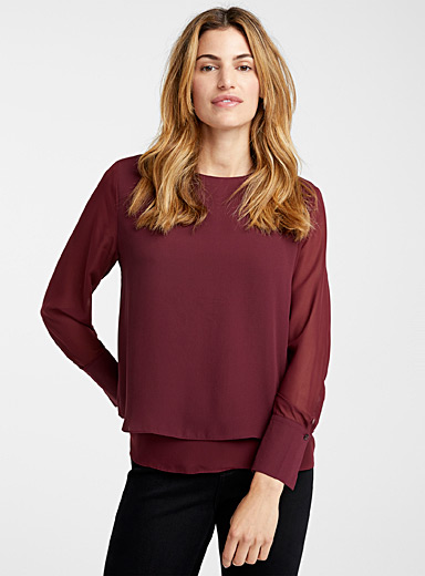 Fluid sheer-sleeve blouse