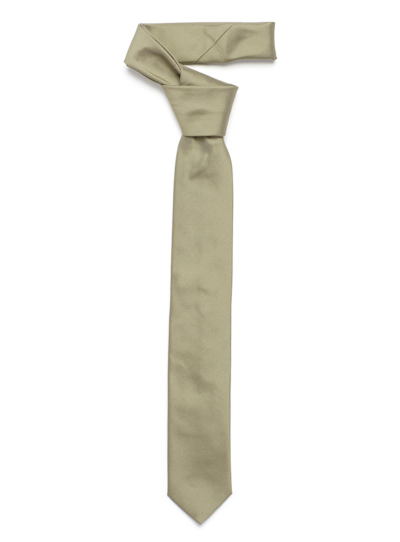 Polished colour tie - Skinny Ties - Mossy Green