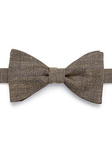 Le 31 Patterned Yellow Dark chambray bow tie for men
