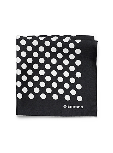 Le 31 Black Polka dot pocket square for men