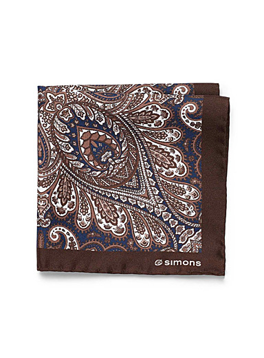Le 31 Brown Macro paisley pocket square for men