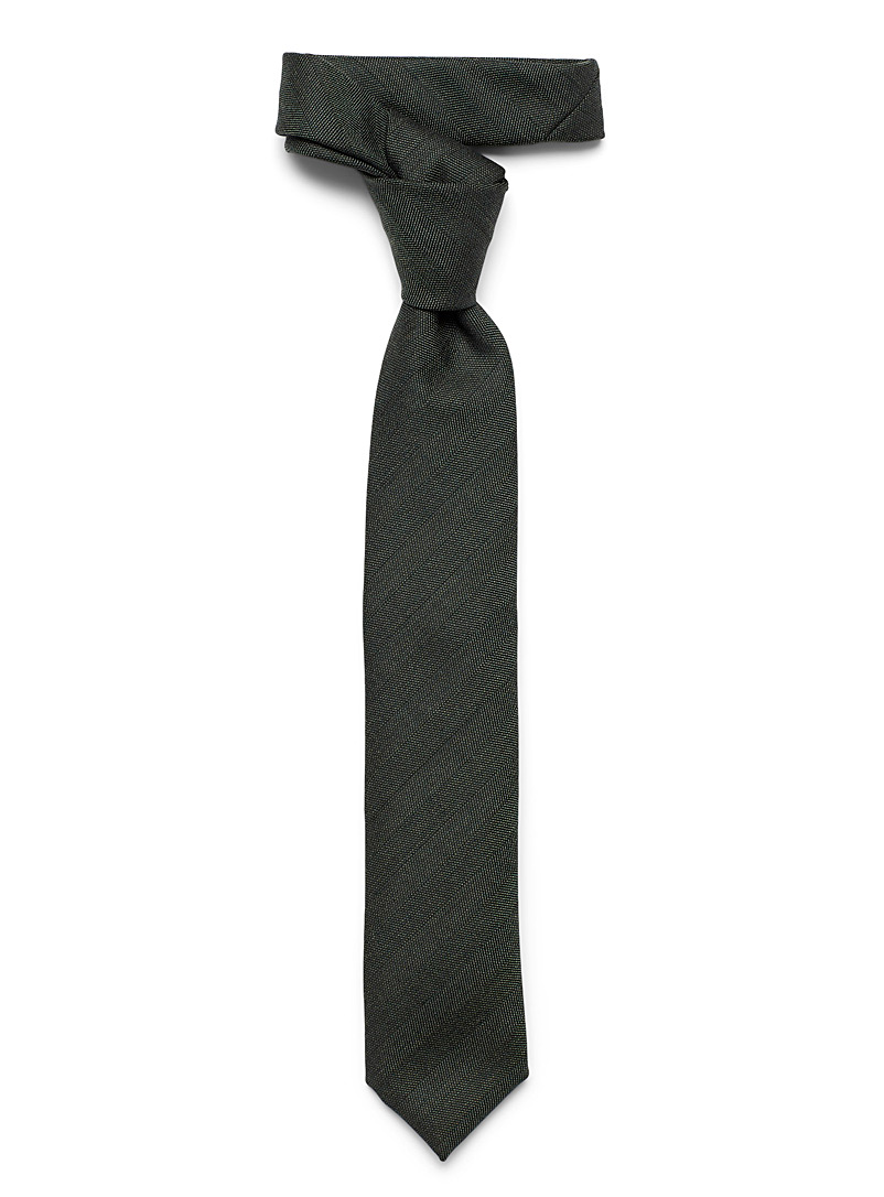 Le 31 Green Dark chambray tie for men