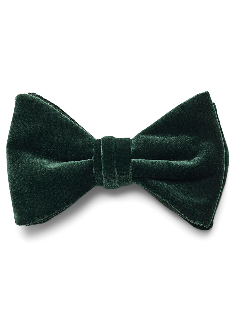Coloured velvet bow tie - Bow Ties - Mossy Green