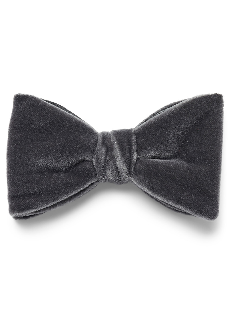 Coloured velvet bow tie - Bow Ties - Dark Grey