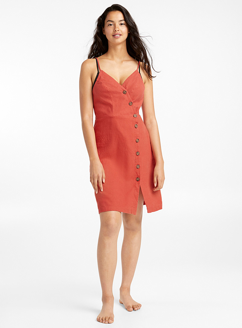 asymmetric-buttoned-linen-dress