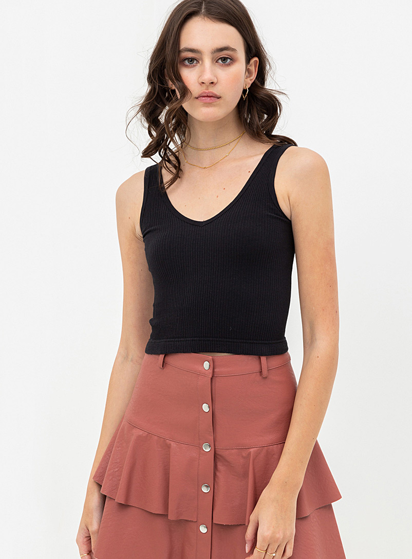 Twik Black Cropped ribbed cami for women