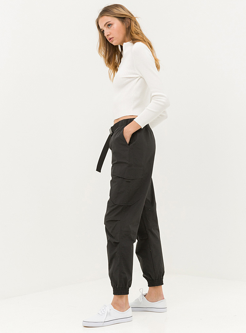 Twik Black Utility nylon belted joggers for women