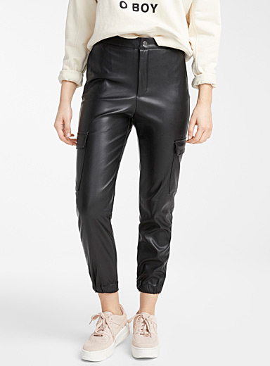 Faux-leather cargo joggers