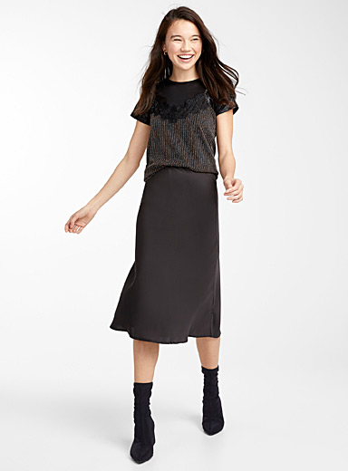 Soft satin midi skirt