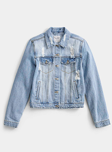 Twik Baby Blue Worn denim jacket for women