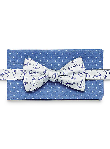 Anchors bow tie and dotted pocket square duo