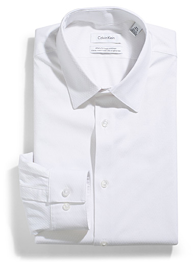Textured white shirt <br>Athletic fit