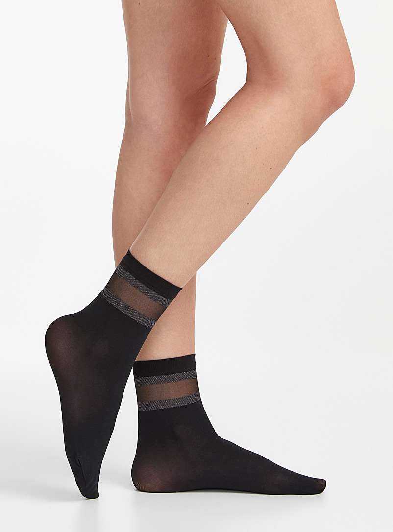 Sanpellegrino Black Sheer band socks for women
