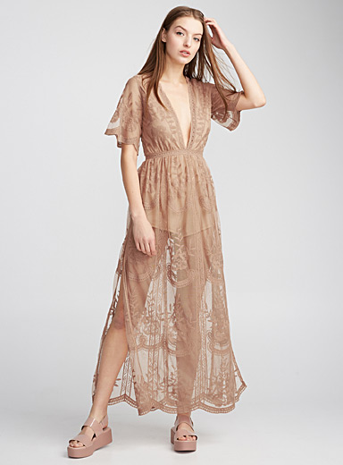 Flower embroidery sheer maxi dress