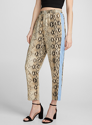 Accent stripe snakeskin pant
