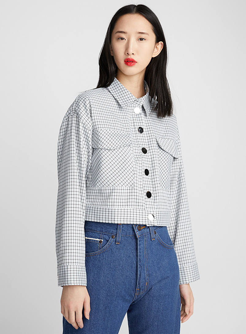 Mirror button check jacket - Jackets - Patterned Blue