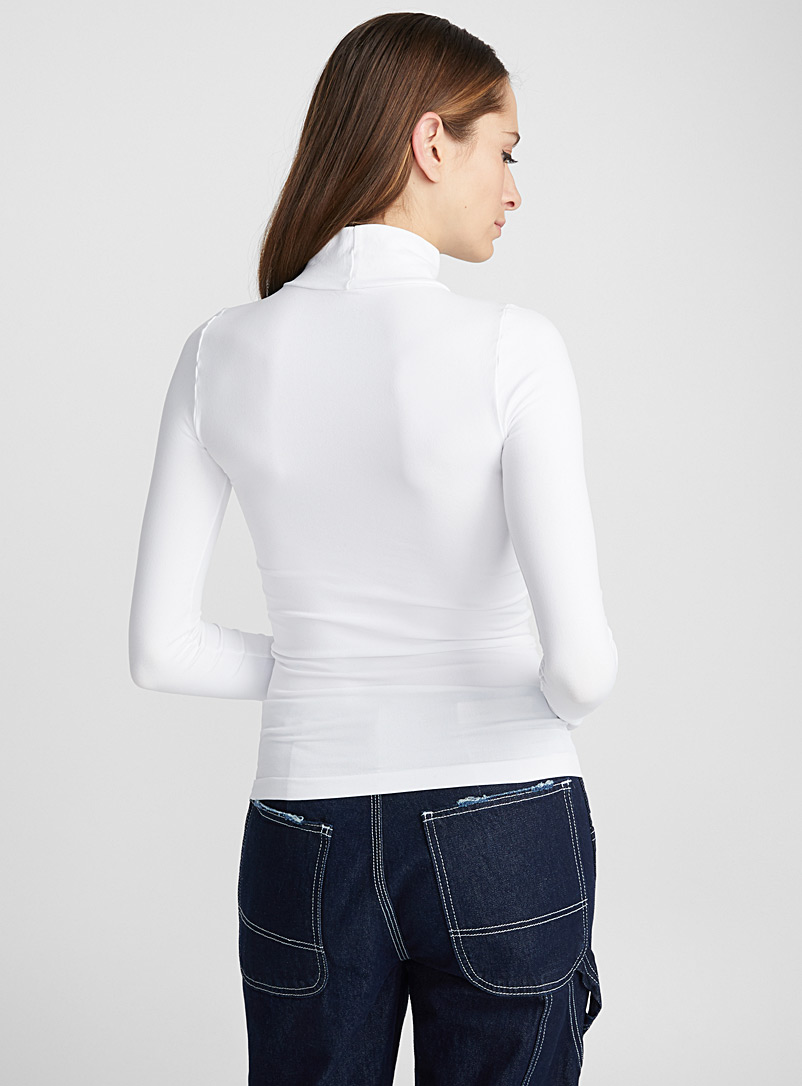 Seamless stretch high-neck top - Long Sleeves - White