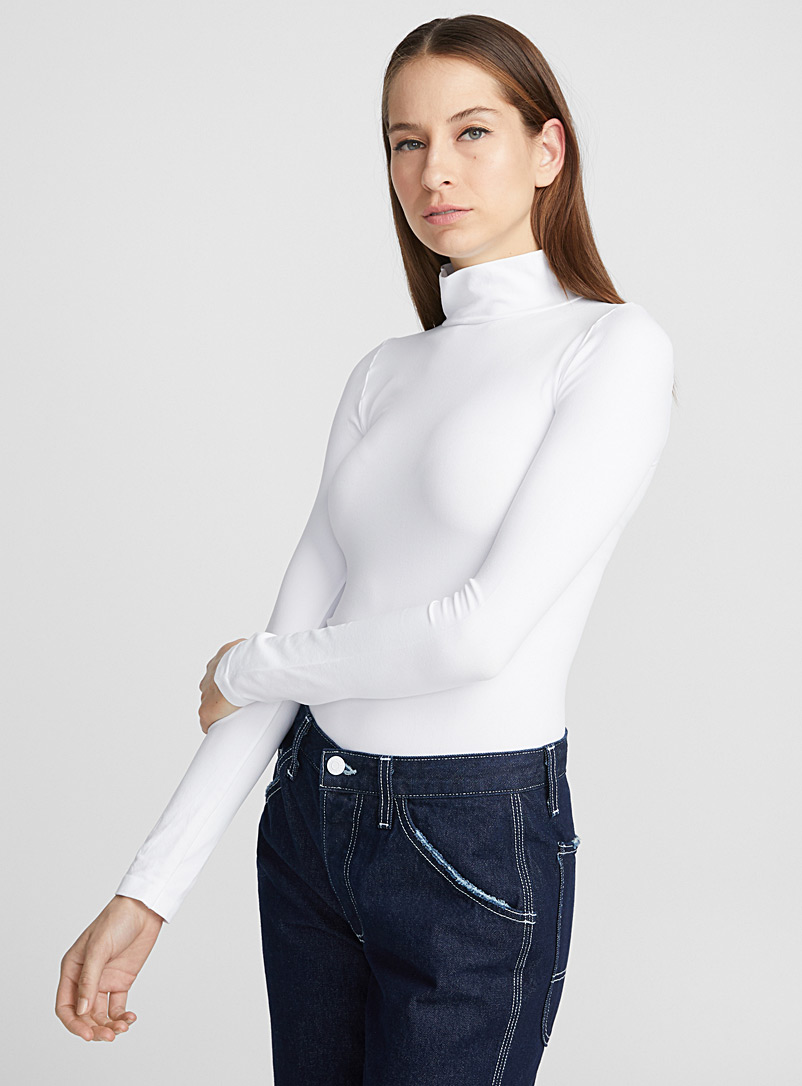Seamless stretch mock-neck top - Long Sleeves - White