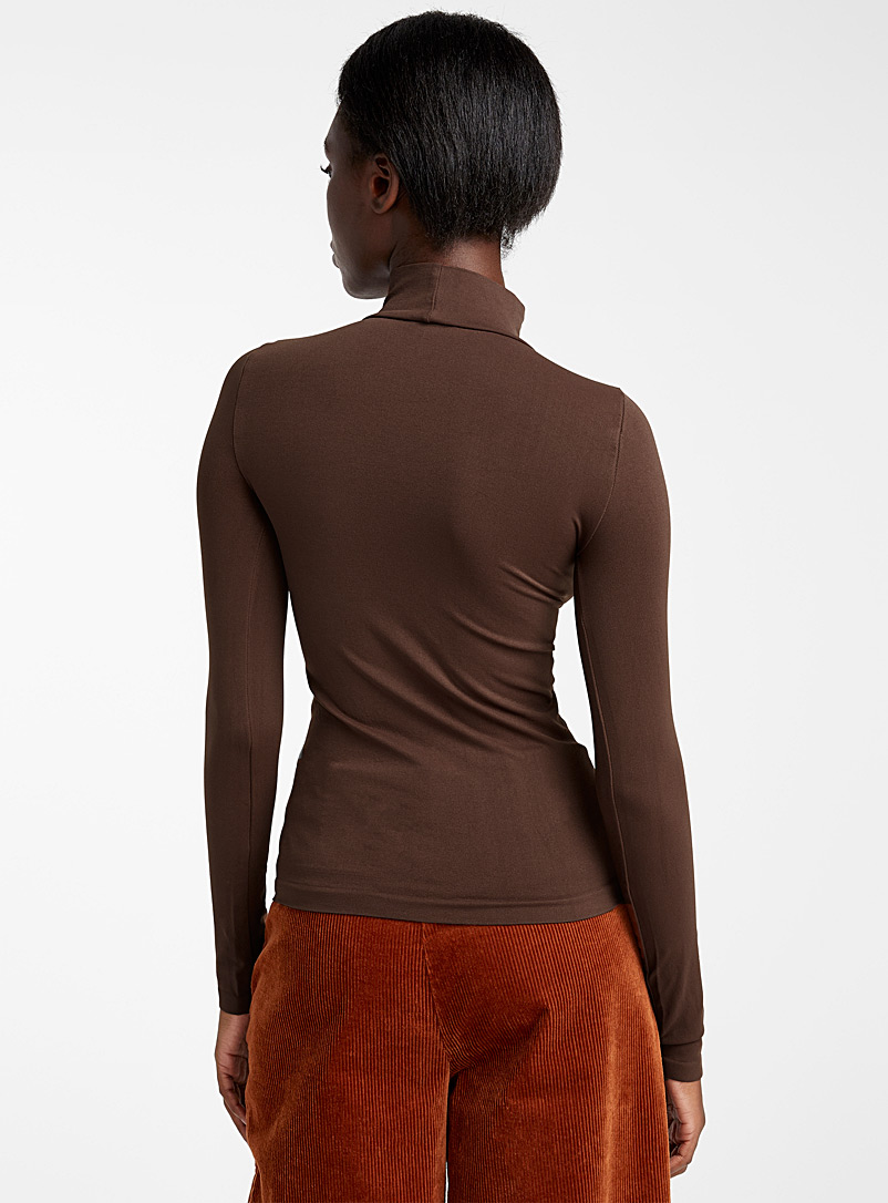 Seamless stretch mock-neck top - Long Sleeves - Dark Brown