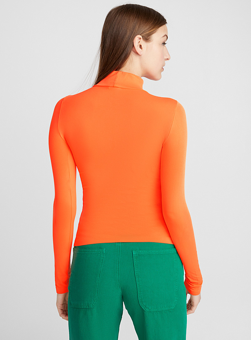 Seamless stretch mock-neck top - Long Sleeves - Orange