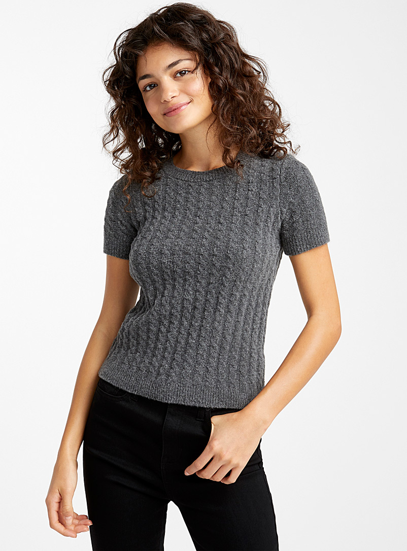Bouclé cable knit sweater - Sweaters - Grey