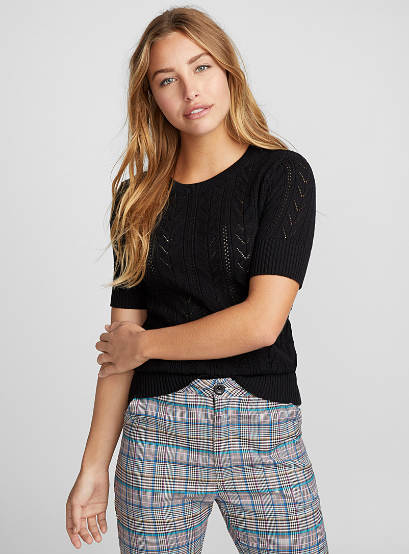 Le pull fin tricot pointelle - Pulls - Noir