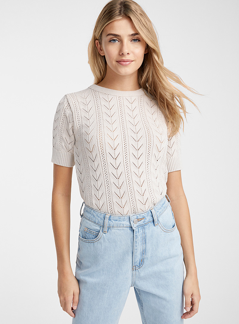 Le pull fin tricot pointelle - Pulls - Ivoire blanc os
