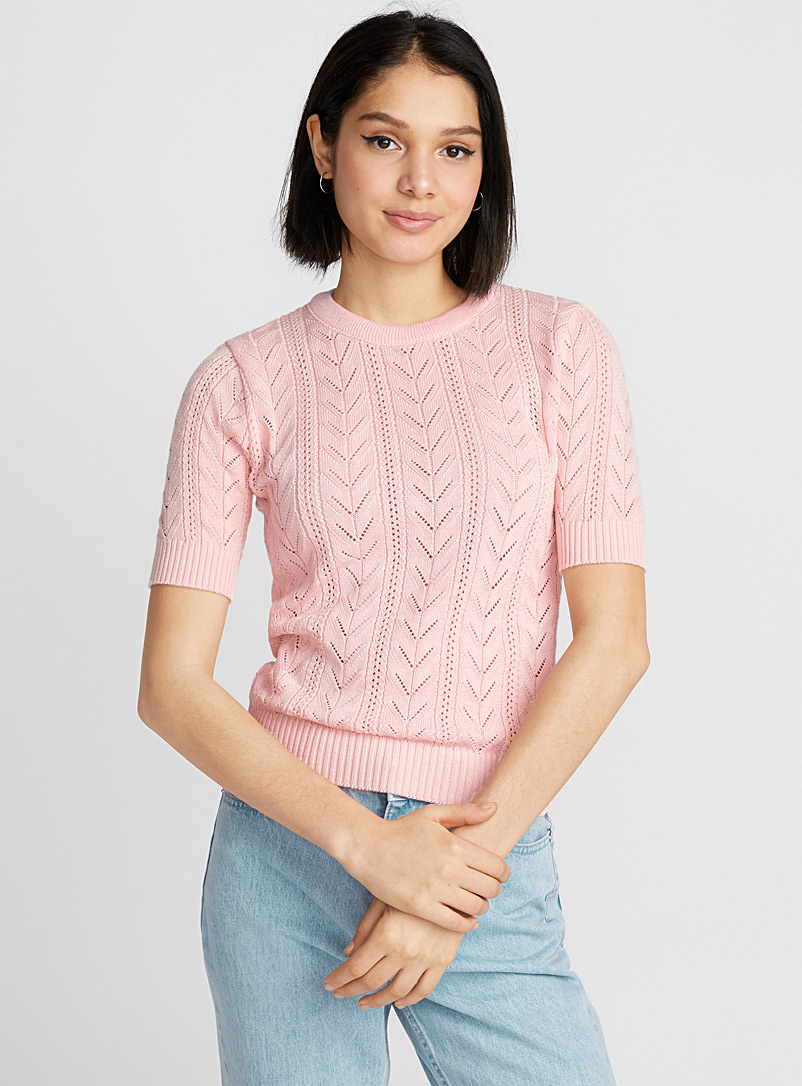 Le pull fin tricot pointelle - Pulls - Vieux rose