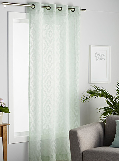 Soft mint sheer curtain <br>54