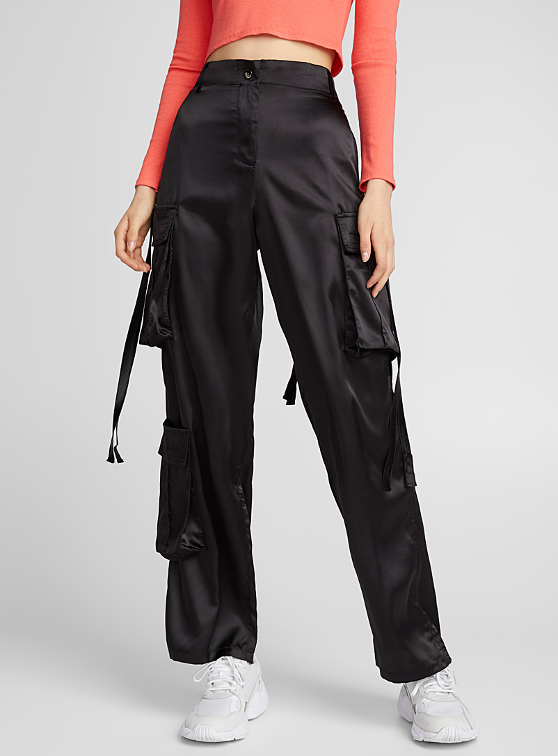 Twik Black Satiny cargo pant for women