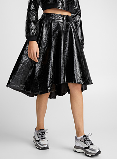 Faux patent leather full skirt