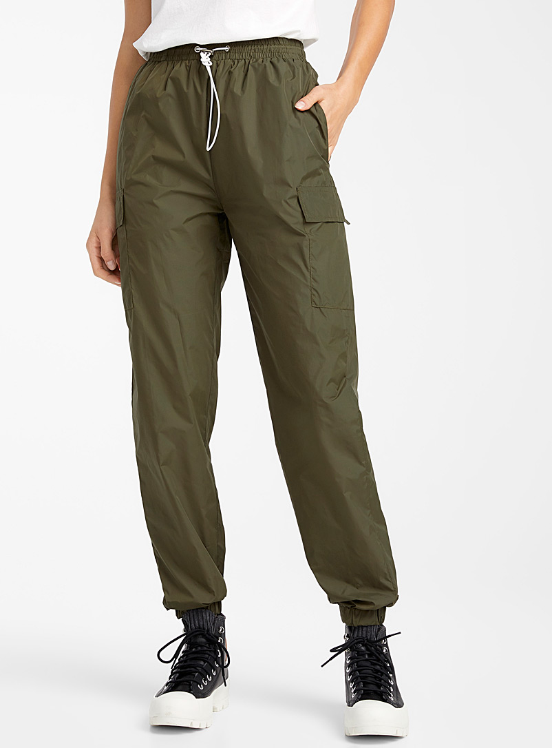 Twik Khaki Nylon cargo joggers for women