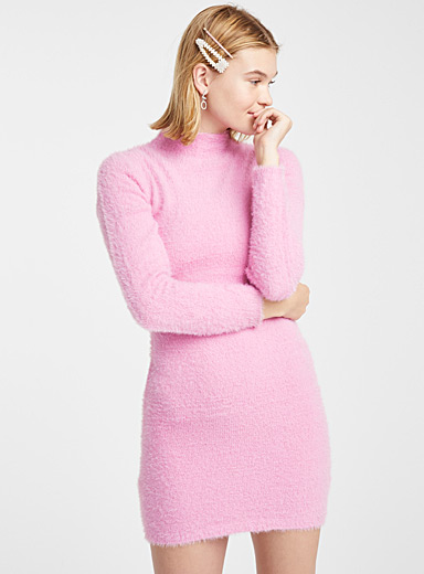 Fluffy chenille fitted dress