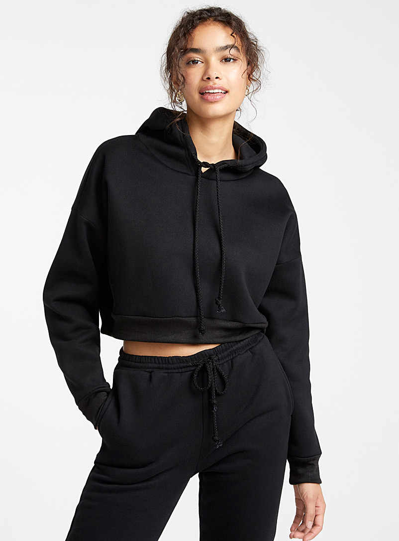 Twik Black Solid ultra cropped hoodie for women
