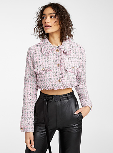 Twik Pink Coloured cropped tweed blazer for women
