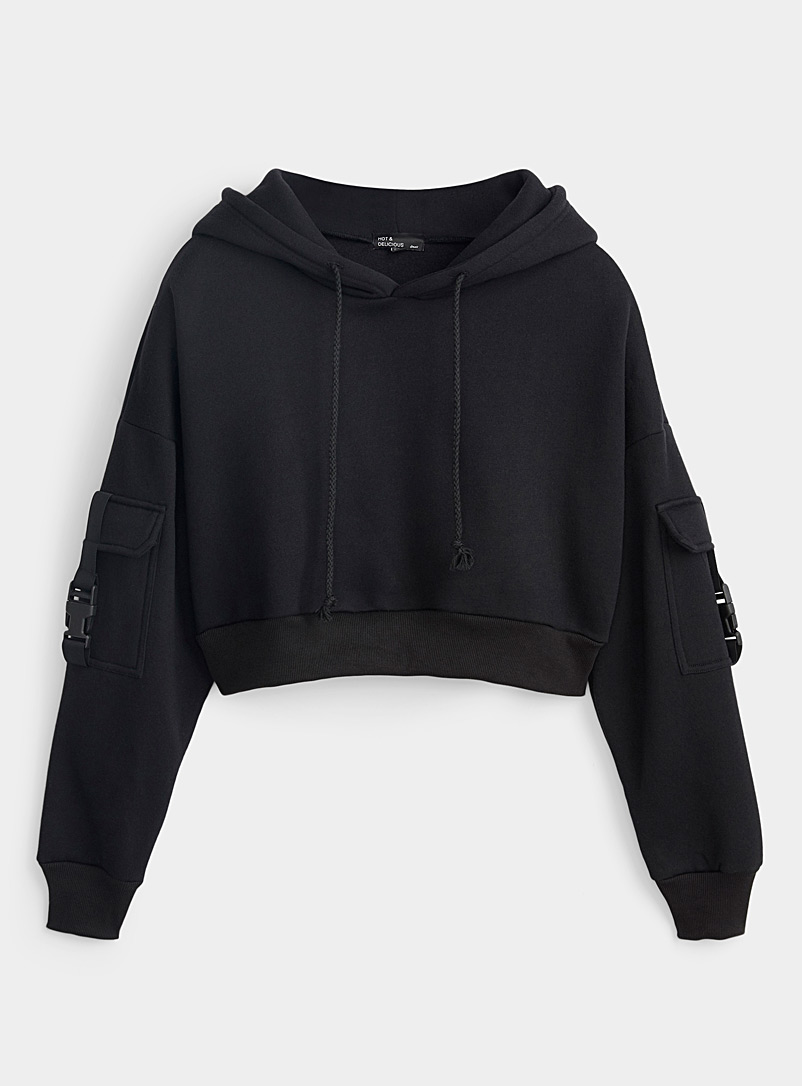 Twik Patterned Black Clip-sleeve cropped hoodie for women