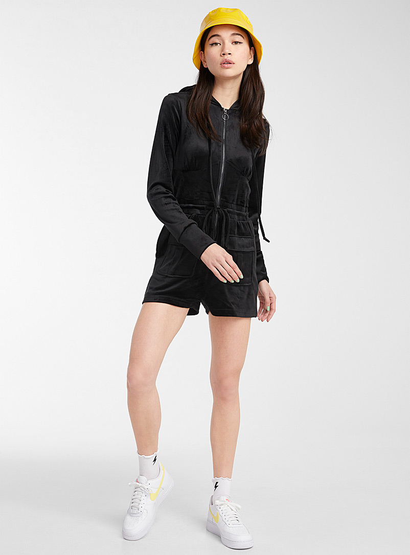 Twik Black Velvet utility romper for women