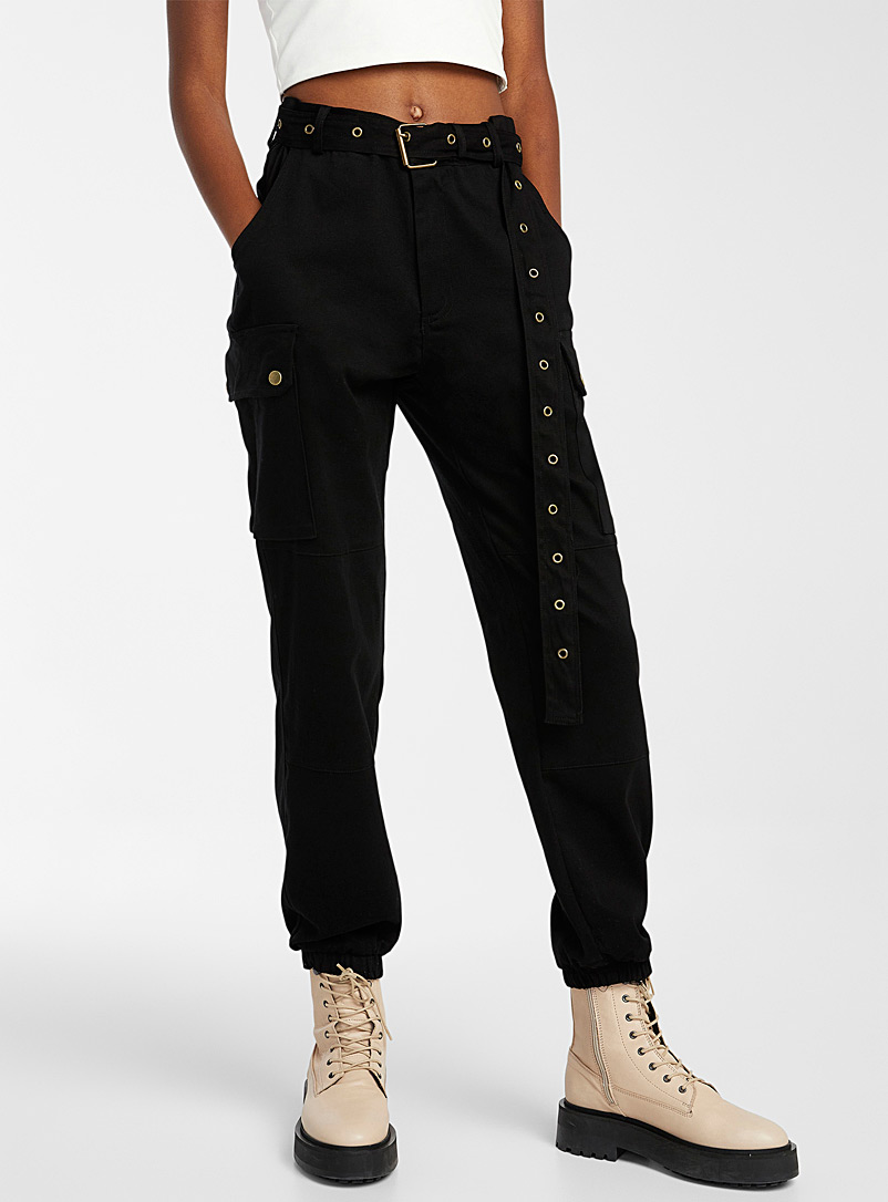 Twik Black Long-belt cargo joggers for women