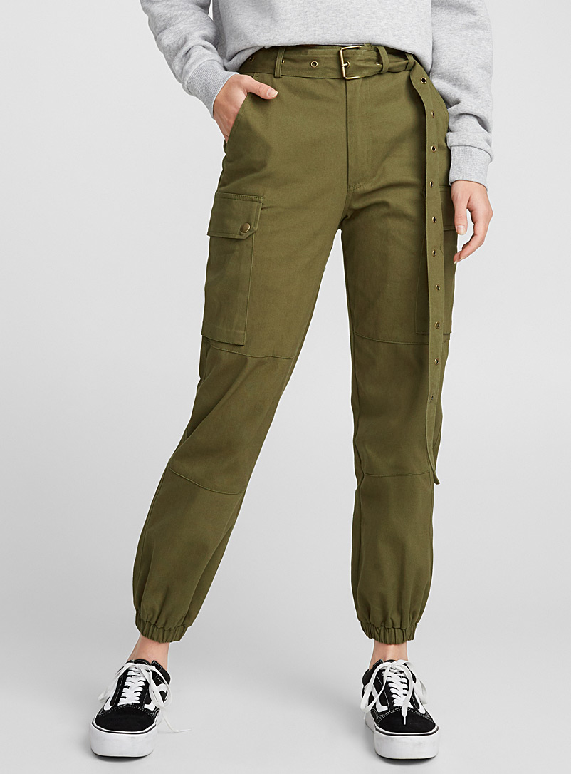 Twik Khaki Long belt cargo joggers for women